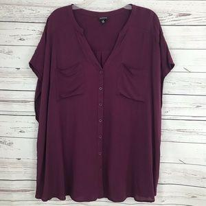 Torrid Cap Sleeve Blouse V-neck Purple Blouse